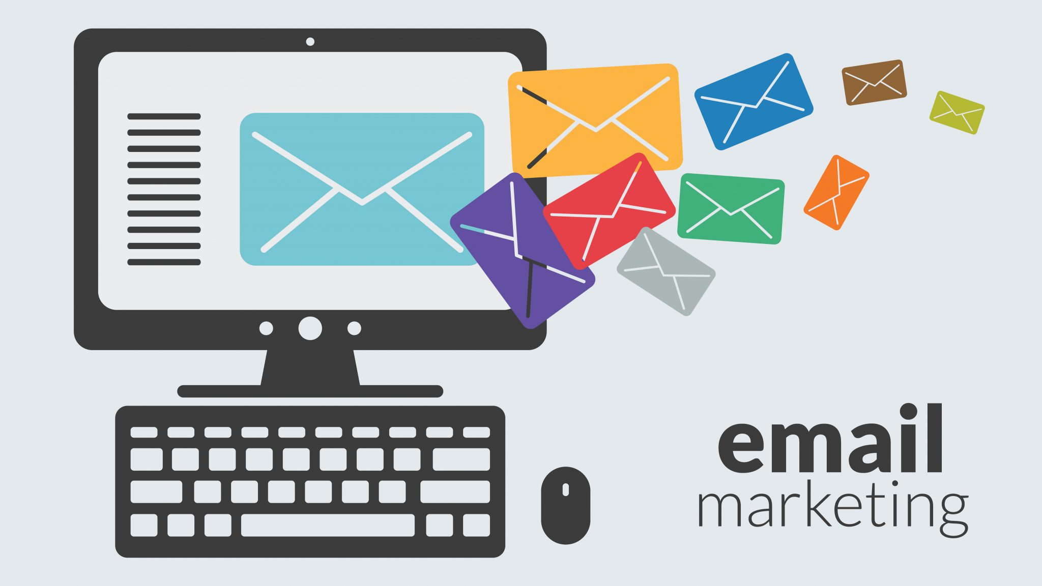 Business computer with email marketing for online advertising